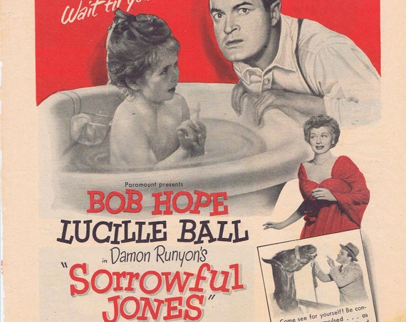 Lucille Ball and Bob Hope Sorrowful Jones Old 1949 Movie Ad