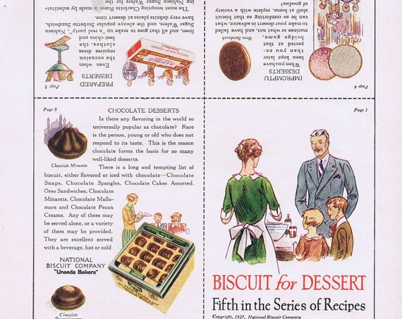 1927 Biscuit for Desert Recipe Cut-Outs by National Biscuit Company Original Vintage Advertisement