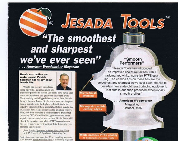Jesada Tools and Router Bits for Woodworking Original 1997 Advertisement with Prices