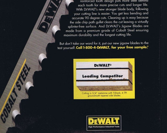 1997 DeWalt Cobalt Steel Jigsaw Blades Original Vintage Advertisement