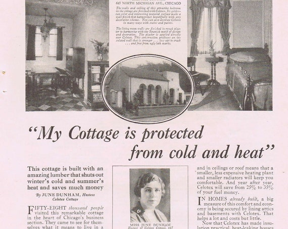 1927 Celotex Insulating Lumber Original Vintage Advertisement with Cottage