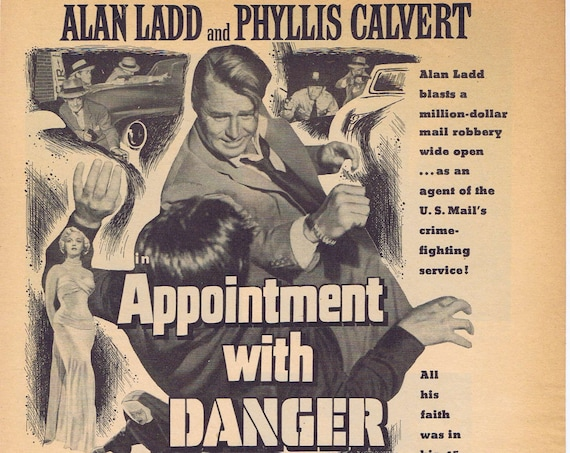 Alan Ladd 1951 Appointment with Danger Vintage Movie Advertisement