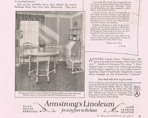 Armstrong's Linoleum Floors 1927 Original Vintage Advertisement with Breakfast Room