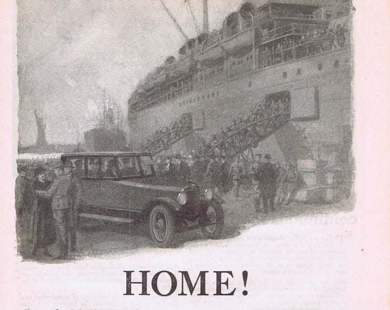 1918 WW1 Victory Welcome Home Original Vintage Advertisement by Paige-Detroit Motor Car