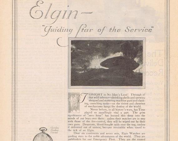 1918 Elgin Watches or Bethlehem Trucks WWI Original Vintage Advertisement