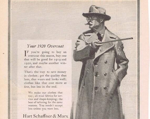 Hart Schaffner & Marx 1918 Men's Overcoat Original Vintage Advertisement Neat Pose