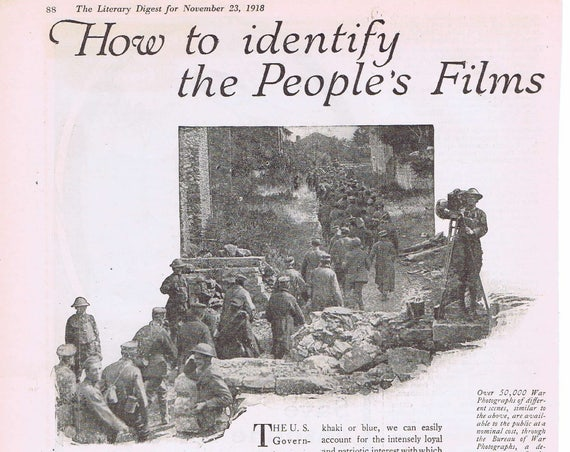 WWI War Films Public Information or Inland Piston Rings 1918 Original Vintage Advertisement