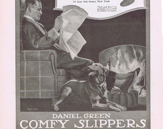 1918 Daniel Green Comfy Slippers with Dog by Fireplace Original Vintage Ad or Russell Drive Gear Axles Ad