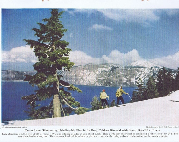 Crater Lake Oregon Beautiful 1946 Vintage Magazine Photo with Snow Skiers