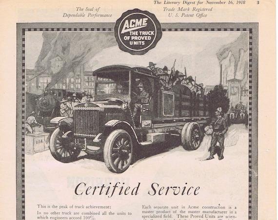 1918 Acme Trucks or Harrison Radiators Original Vintage Ad with WWI Soldiers