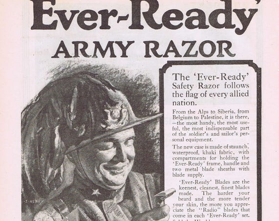 1918 Ever-Ready Army Men's Razors WWI Soldier Original Vintage Advertisement Vintage Art Free Shipping