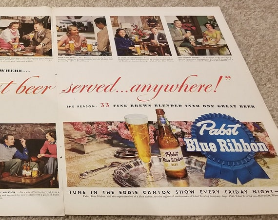 Giant Pabst Blue Ribbon Beer and Famous Persons of 1949 Double Page Original Advertisemen