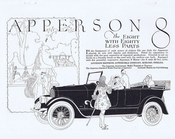 Old Apperson Brothers 8 Automobile Advertisement and Cement Roads for Travel