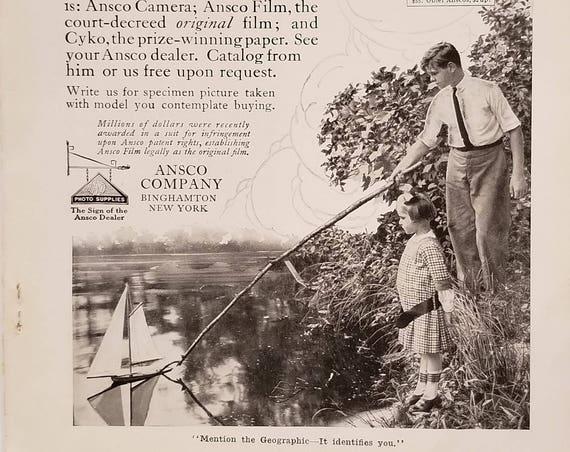 1915 Ansco Cameras and Film Original 100+ Years Old Advertisement with Neat Vintage Photo of Boy and Girl with Sailboat in Pond