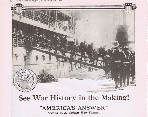 "1918 WWI War Film ""America's Answer"" History in the Making Original Vintage Ad by Committee on Public Information"