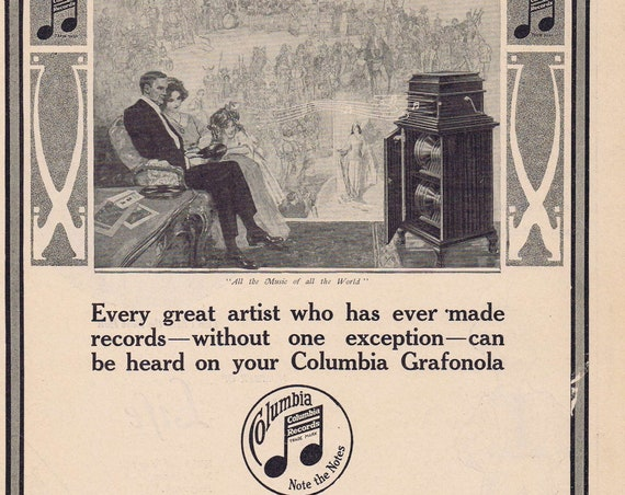 1913 Columbia Grafonola Talking Machine Record Player  100+ Year Old Original Vintage Advertisement All the Music of All the World