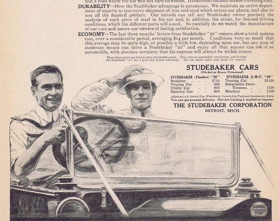 1913 Studebaker Flanders 20 Original Vintage Automobile Advertisement Sold for 800 Dollars