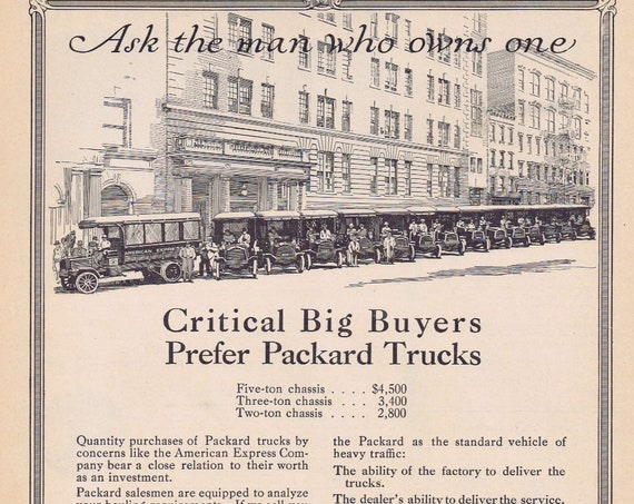 1913 Packard Trucks American Express Fleet or Old Victor-Victrola Talking Machines Original Vintage Ad Unique 100+ Years Collectible