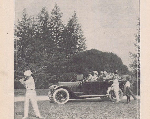 1913 Locomobile Original Vintage Automobile Advertisement Nice Old Time Photo of Car and Playing Golf