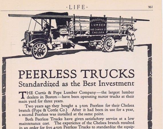 1913 Peerless Heavy Duty Trucks Original Vintage Advertisement with Curtis & Hope Lumber Company of Boston Truck