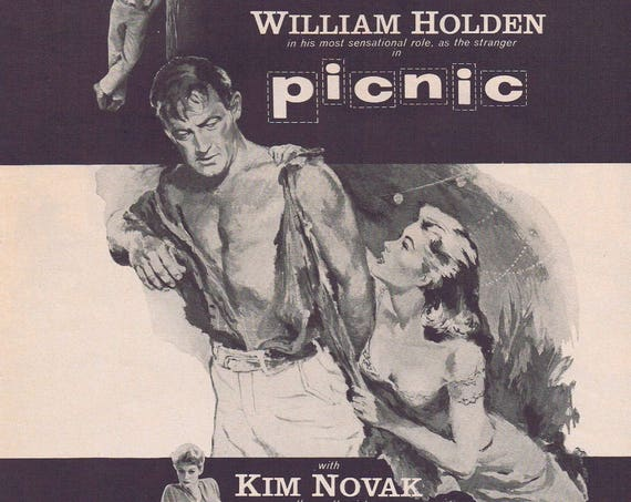 Picnic with William Holden 1955 Classic Original Vintage Movie Ad with Kim Novak and Rosalind Russell Iconic Film Art