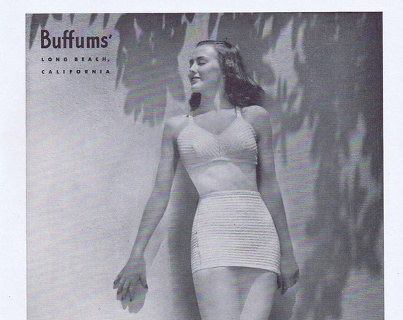 1946 Buffums' Cobbleston Women's Swimsuits or Emma Domb Dinner Dress Original Vintage Advertisement Art by Gene Perry
