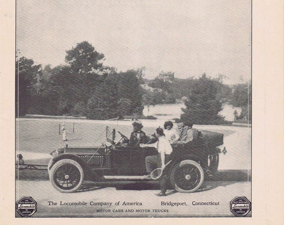 1913 Locomobile Original Vintage Automobile Advertisement Nice Old Time Photo of Car and Badminton Playing 100+ Years Old