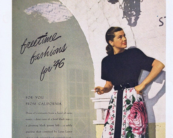Women's Fashions for 1946 by Lynn Lester Original Ad or The California Magazine Cover with Swimsuit Model