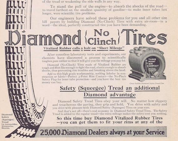 1913 Diamond No Clinch Automobile Tires Original Vintage Advertisement Vitalized Rubber Calls a Halt on Short Mileage