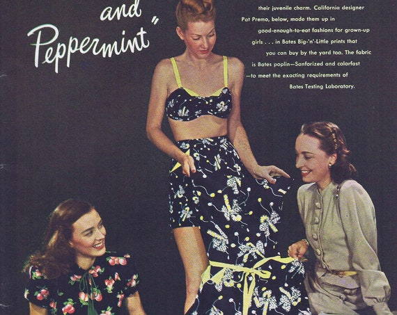 1946 Bates Fabrics Plums and Peppermint Women's Clothing Original Vintage Ad Neat Photo