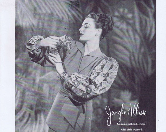 1946 Lillie Anne Jungle Allure Tunic Woman's Suit or Shantung Sports Suit by Hess-Goldsmith Fabrics Original Vintage Ad