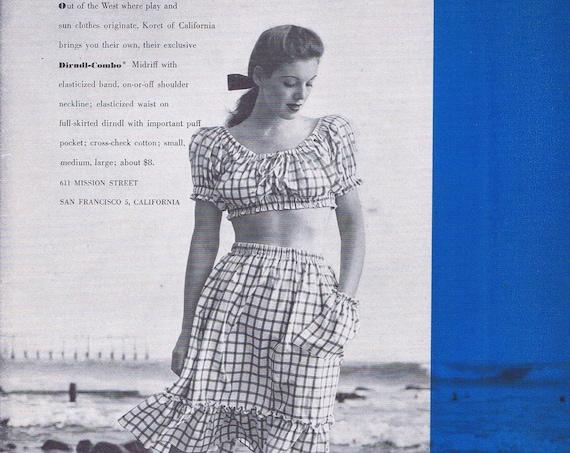 1946 Women's Koret of California Midriff Dirndl-Combo Original Vintage Ad Neat Artwork
