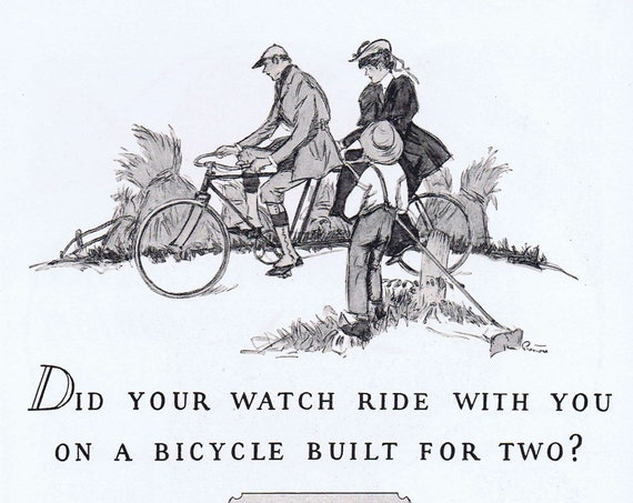 Elgin Watches and Bicycle Built for Two Old 1927 Vintage Ad