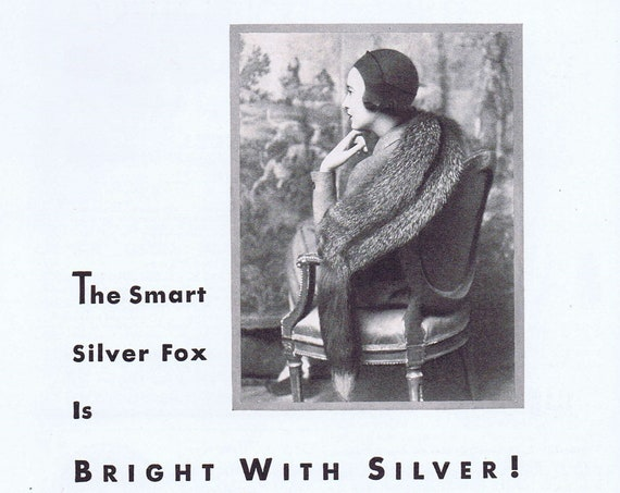 Old Fromm Silver Fox Pelt or Stole 1931 Ad