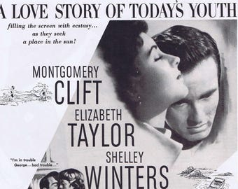 A Place in the Sun 1951 Original Movie Ad with Montgomery Clift and Elizabeth Taylor