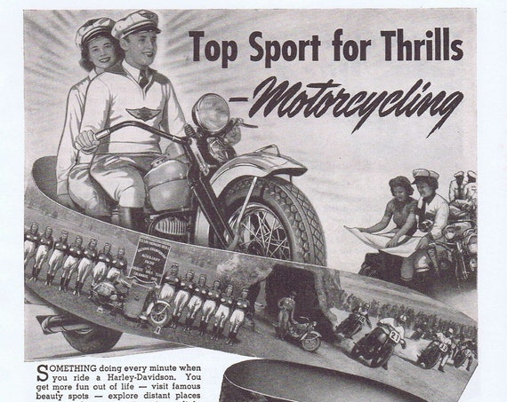 Harley Davidson Motorcycling Thrills Old 1941 Vintage Ad