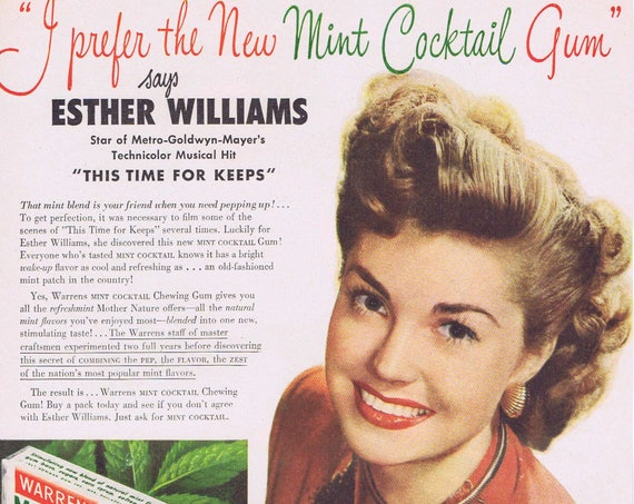 """Esther Williams 1947 Warrens Mint Cocktail Chewing Gum Original Vintage Ad starring in """"This Time For Keeps"""" film"""