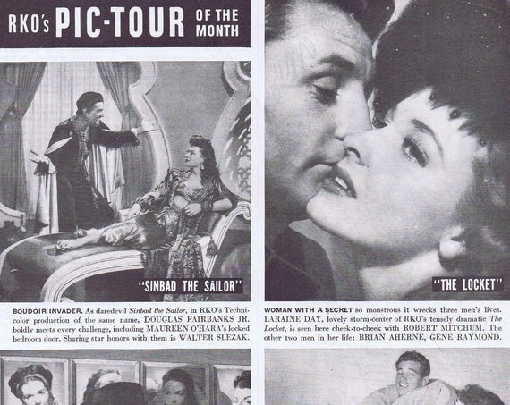 """1946 RKO's Movie Tour of the Month Original Vintage Ad with """"Sinbad the Sailor,"""" """"The Locket,"""" """"Nocturne"""" and """"Honeymoon"""""""