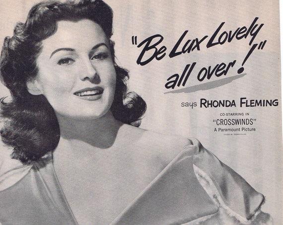 "Rhonda Fleming  1951 Lux Toilet Soap Original Vintage Advertisement starring in ""Crosswinds"" film"