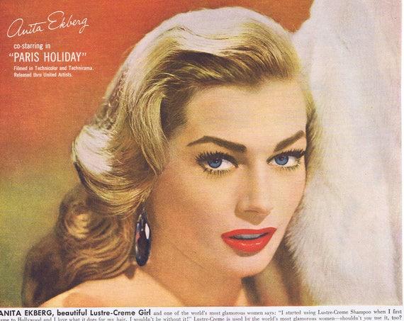 "Anita Ekberg 1958 Lustre-Crème Shampoo Original Vintage Advertisement starring in ""Paris Holiday"""