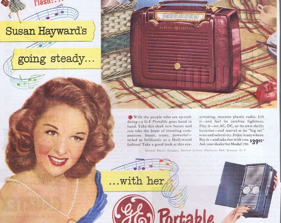 "Susan Hayward 1953 General Electric Portable Radios Original Vintage Ad starring in ""Tap Roots"" film"