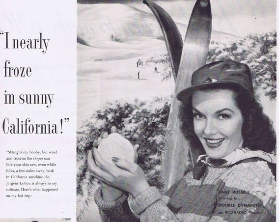 Jane Russell 1951 Jergens Hand Lotion Original Vintage Ad Skiing and Ice Skating