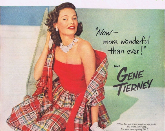 """Gene Tierney 1951 Lux Flakes Original Vintage Ad starring in """"On the Riviera"""" film"""