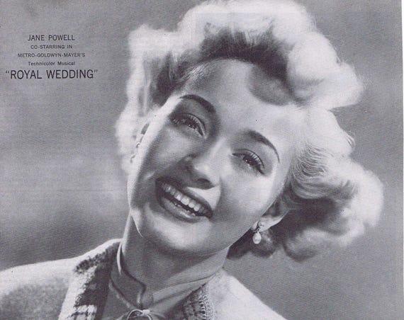 "Jane Powell 1951 Lux Toilet Soap Original Vintage Advertisement starring in ""Royal Wedding"" film"
