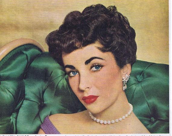 """Elizabeth Taylor 1953 Lustre-Crème Shampoo Original Vintage Ad starring in """"Ivanhoe"""" film"""