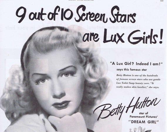 Betty Hutton 1948 Dream Girl Lux Soap Lotion Original Vintage Advertisement