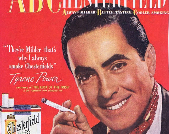 """Tyrone Power 1948 Chesterfield Cigarettes Original Vintage Ad starring in """"Luck of the Irish"""" film"""
