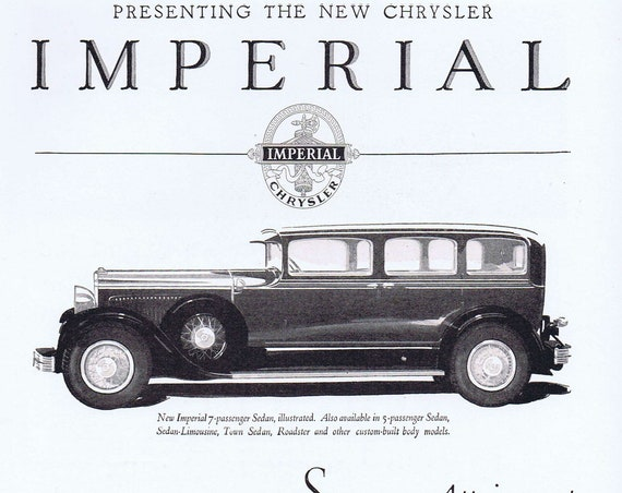 Chrysler Imperial Supreme Engineering and Craftsmanship Old 1927 Ad