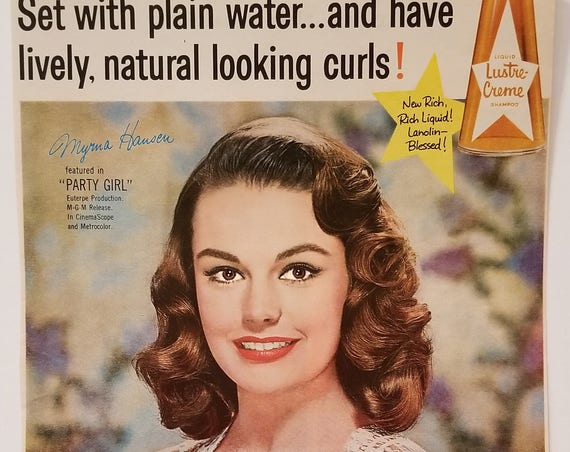 "Myrna Hansen 1958 Lustre-Crème Shampoo Original Vintage Ad starring in ""Party Girl"" film"