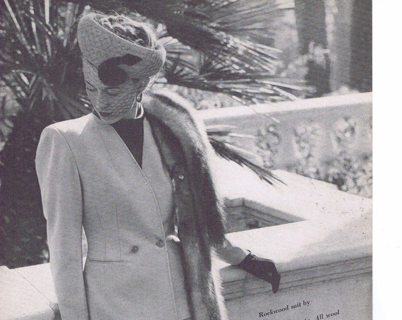 1946 Women's Rockwood Suit by Breitstein or Verney Fabrics Original Vintage Advertisement
